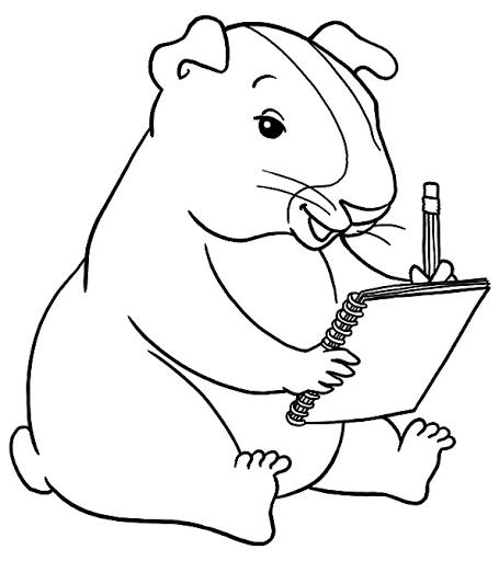 Kleurplaat met een cavia die aan het schrijven is