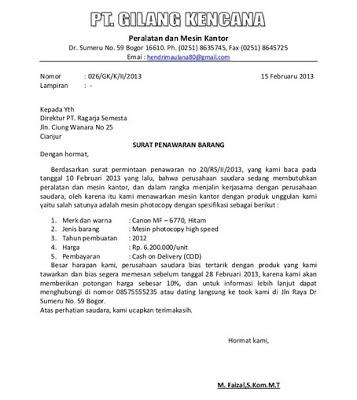 Contoh Surat Penawaran Baju Muslim