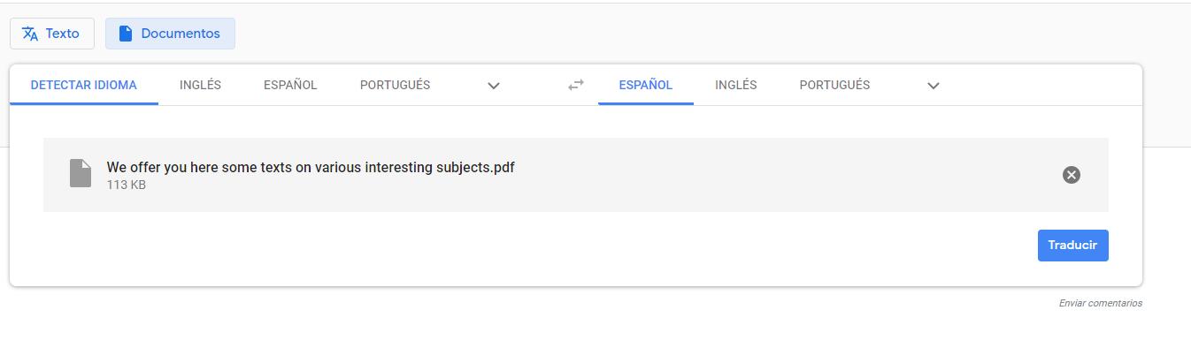 Ventana de sitio google traductor