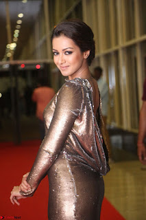 Actress Catherine Tresa in Golden Skin Tight Backless Gown at Gautam Nanda music launchi ~ Exclusive Celebrities Galleries 061.JPG