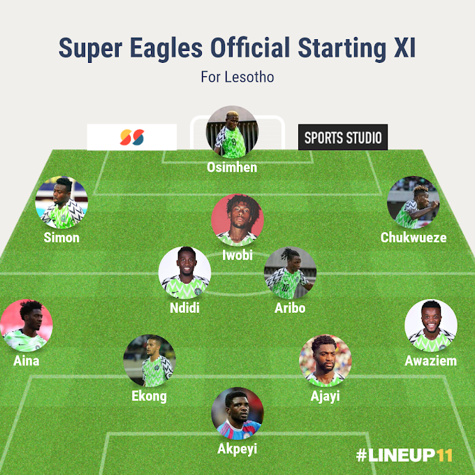 Moses Simon start, Samuel Kalu Benched as Super Eagles Line-up for Lesotho has been revealed