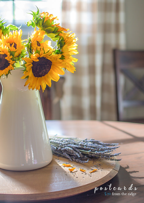 sunflowers in an enamel pitcher with dried lavender