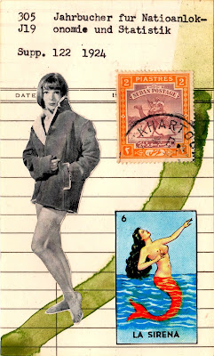 mid-century female model mexican lottery card loteria la sirena siren song mermaid camel postage stamp library card Dada Fluxus mail art collage