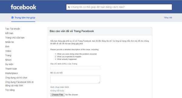 Báo cáo vấn đề trang Facebook