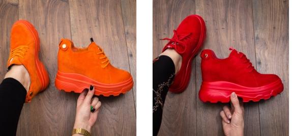 Sneakers Cosiva portocaliu, rosii din piele eco intoarsa