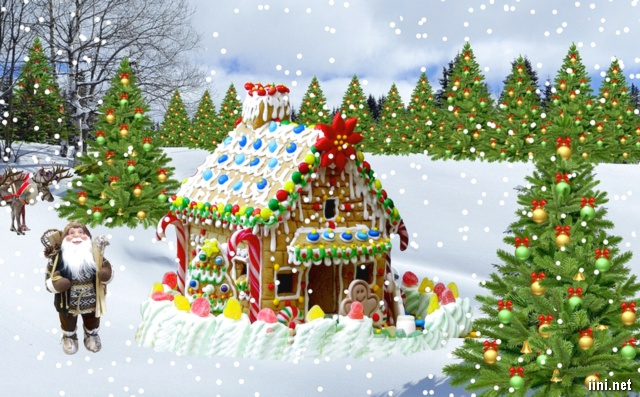 ảnh ngôi nhà mùa đông đêm noel