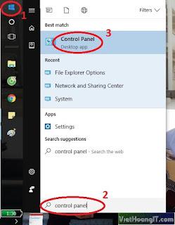 search control panel in Windows 10