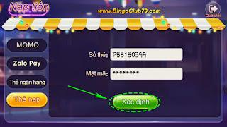 Xác định nạp CODE Bingo Club