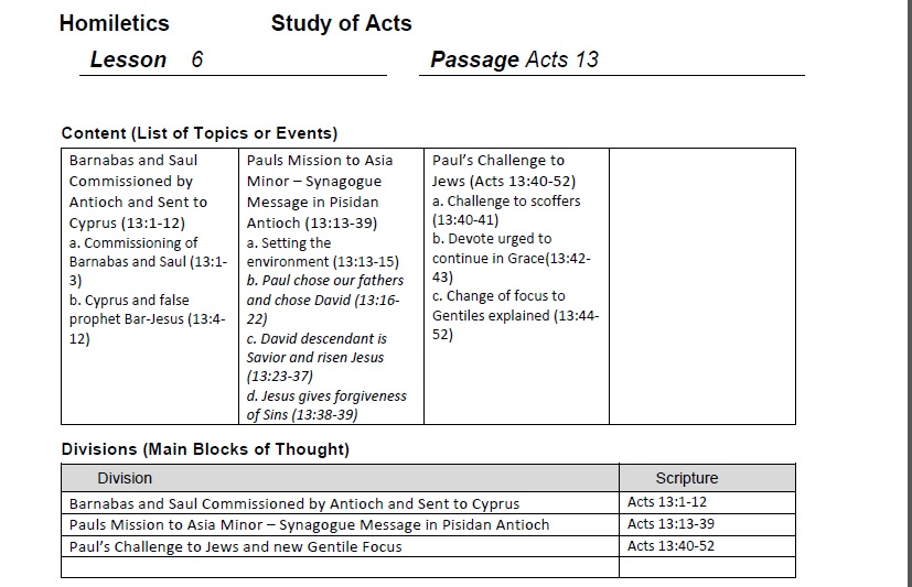 Homiletics 101 Homiletics Acts 13 Lesson 6