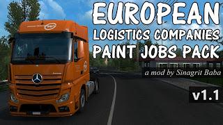 ets 2 european logistics companies paint jobs pack v1.1