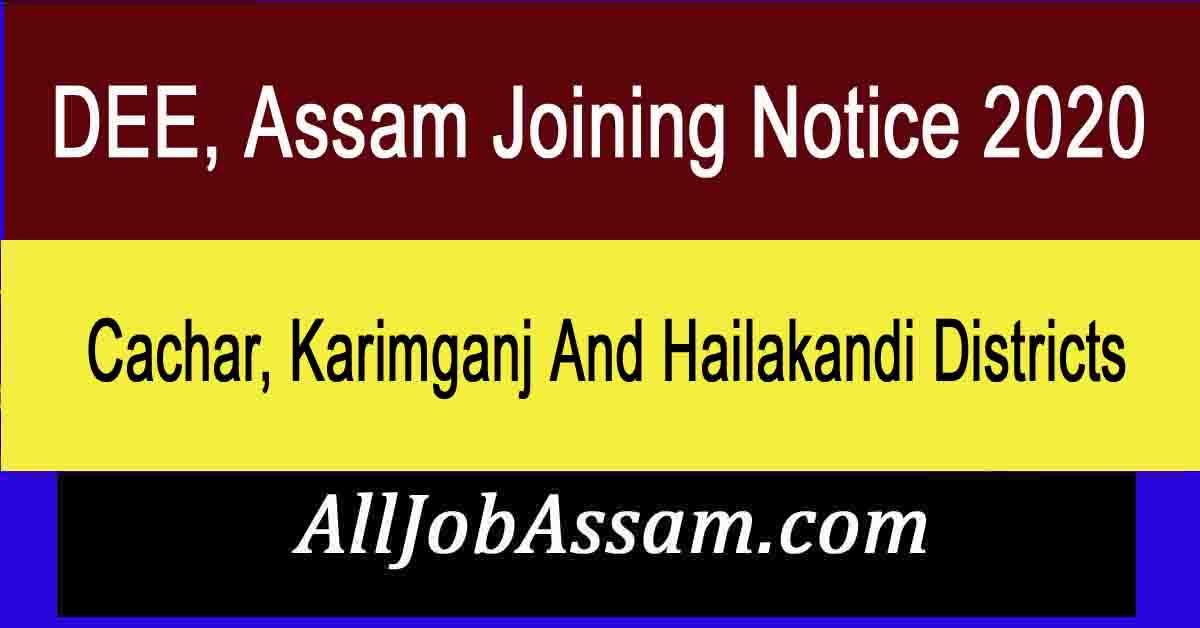 DEE, Assam Joining Notice 2020