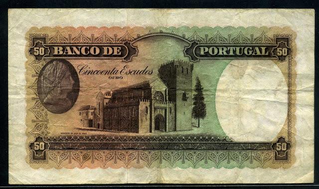 Portuguese bank notes 50 Escudos note Portugal paper money