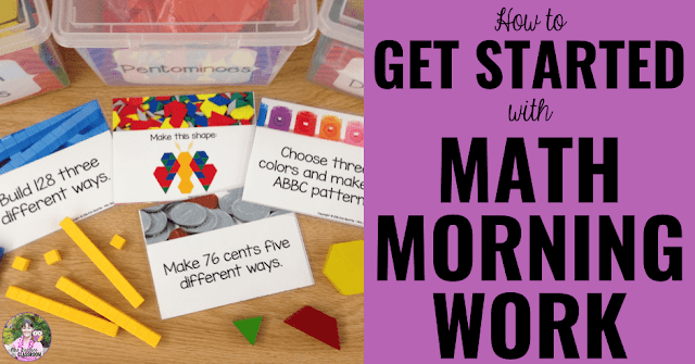 "Math task cards and manipulatives with text, ""How To Get Started With Math Morning Work."""