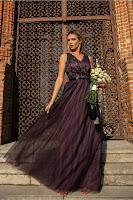 Rochie de Ocazie Dy Fashion Tania mov pruna din tulle cu broderie