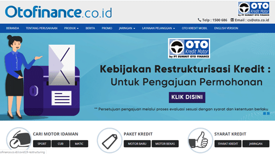 halaman website resmi oto finance