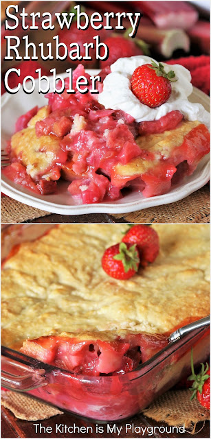 Strawberry Rhubarb Cobbler ~ One amazingly delicious North meets South mash-up dessert! Enjoy the classic Northern combination of strawberries & rhubarb in a decidedly Southern form with this super tasty Strawberry Rhubarb Cobbler.  www.thekitchenismyplayground.com