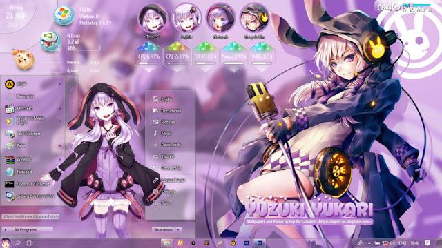 Windows 10 Ver. 1709 Theme Yuzuki Yukari by Enji Riz