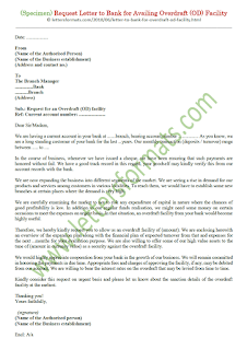 sample letter to bank requesting overdraft facility