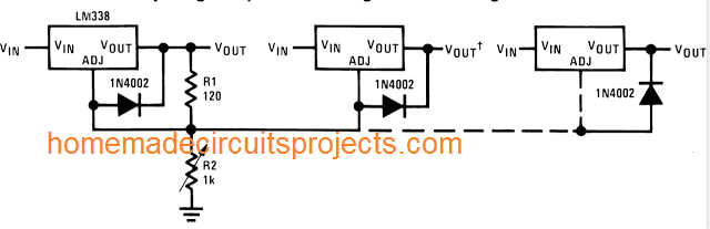 controlling multiple LM338 IC outputs using a single pot