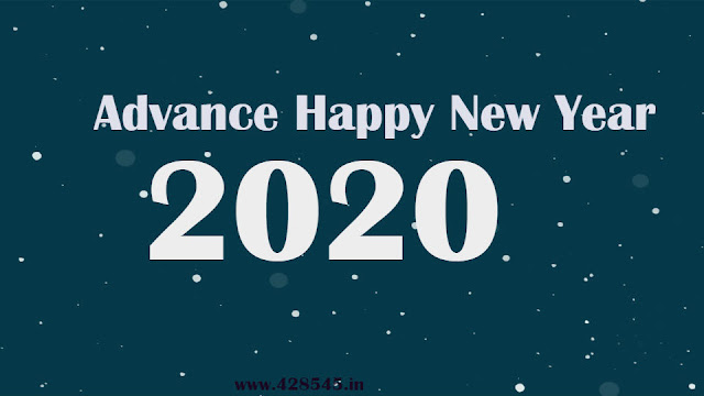 2020 advance happy new year bluegreen with white dot