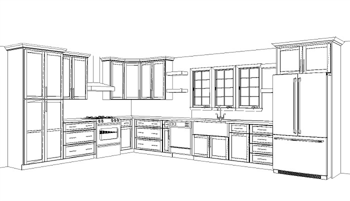 Kitchen design layout for a ranch style home