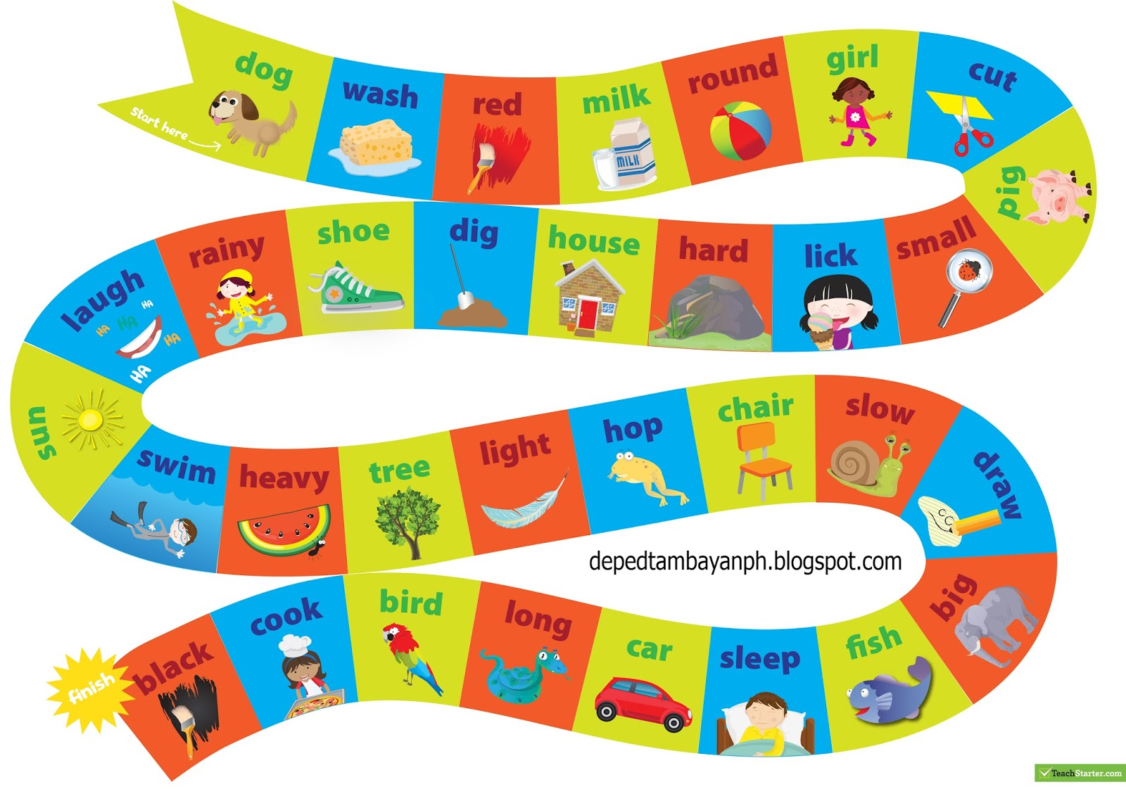 Nouns Verbs And Adjectives Board Game