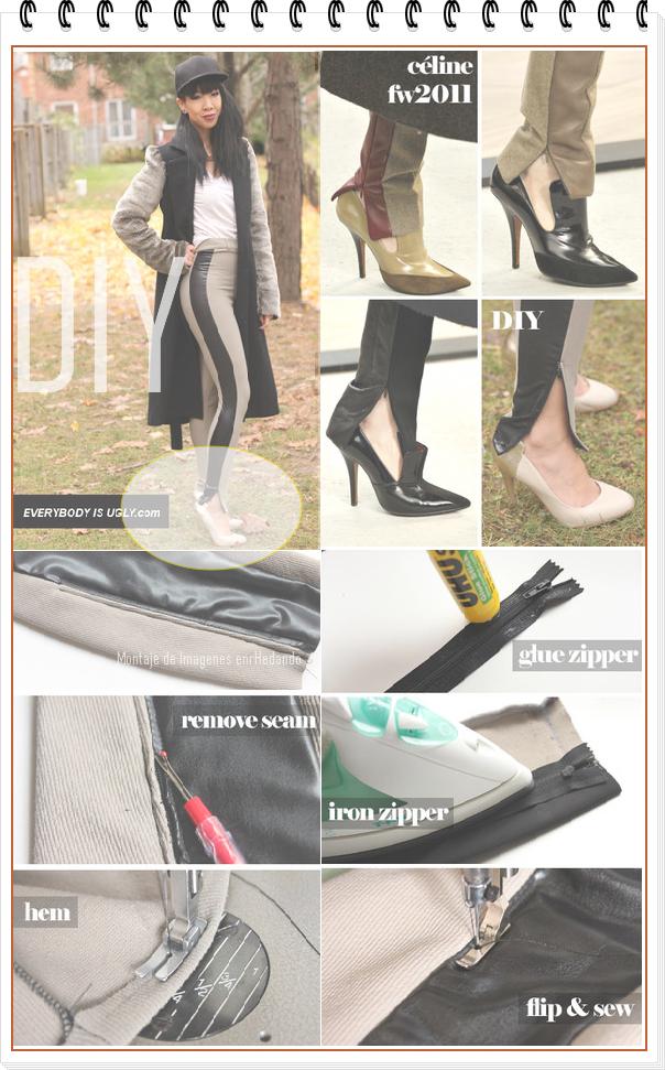 pantalones, cremallera, bricomoda, moda, refashion, labores