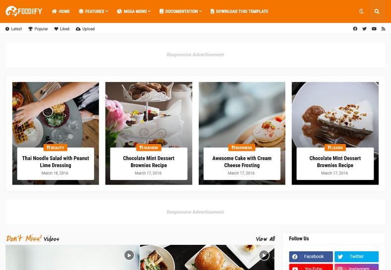 Foodify Elegant Food & Restaurant Blogger Template Free Download