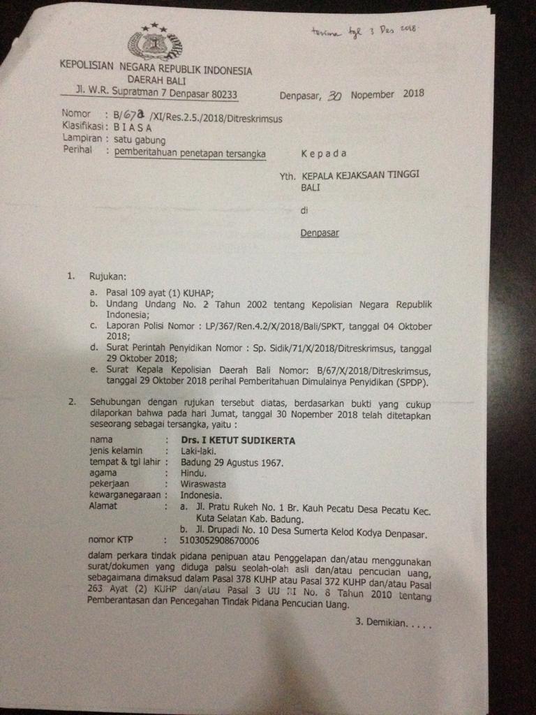 Kuasa Hukum Sudikerta Akan Laporkan Penyidik Polda Bali Ke Propam