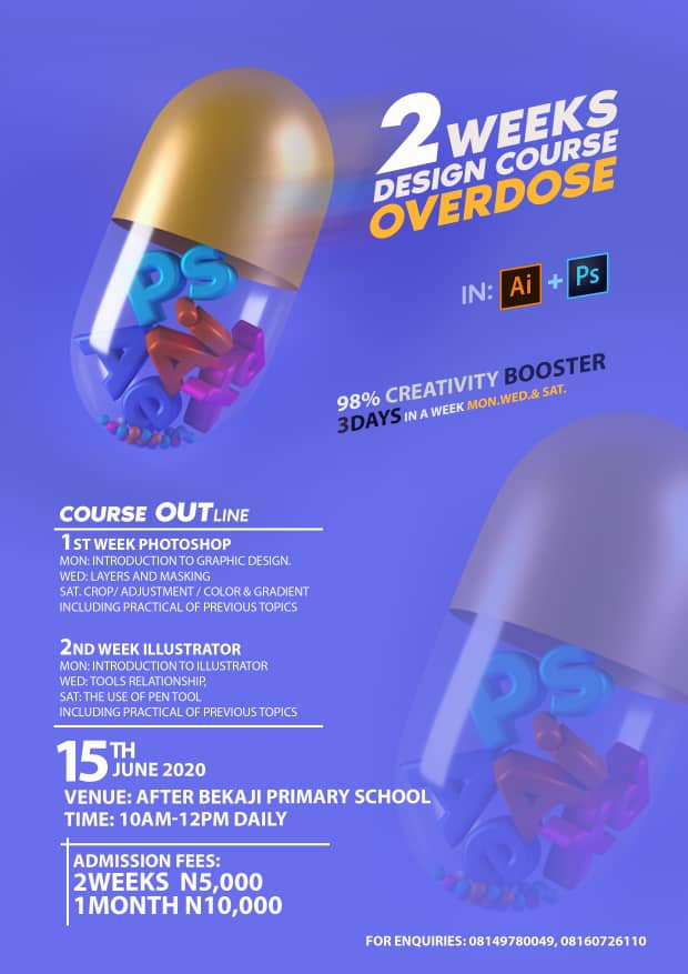 EVENT: 2weeks design class overdose  in Photoshop and illustrator