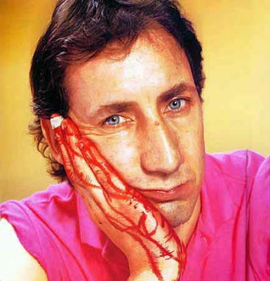 Pete Townshend cut his hand while wind-milling... oh yeah!!