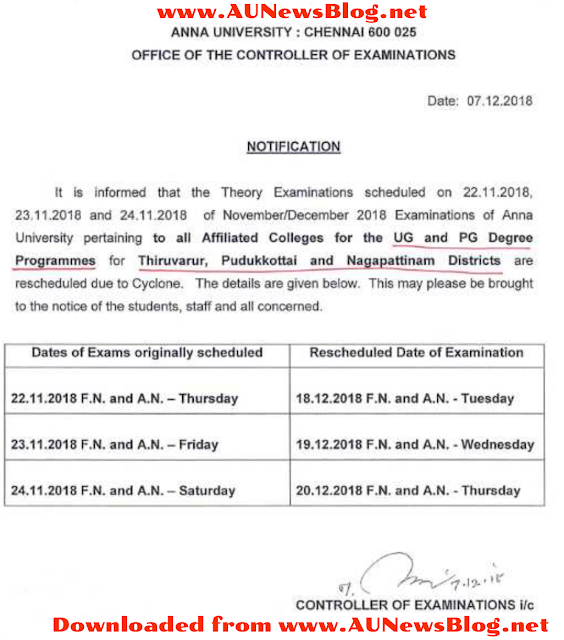 Anna University Nov Dec 2018 Exams Postponed & Rescheduled Details
