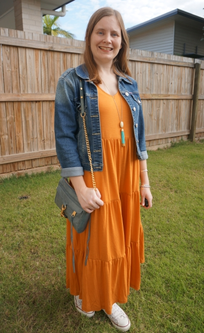 Kmart amber tiered midi dress with converse denim jacket and mini mac bag | away from the blue