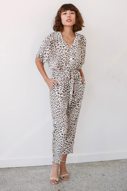 Model wearing Sway and Cake Margaux Jumpsuit Vanilla Cheetah