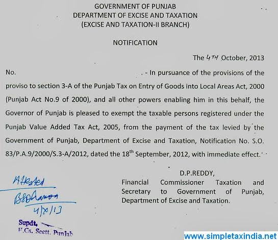 Entry Tax withdrwan ,Advance Tax imposed wef 04 10 2013 in Punjab
