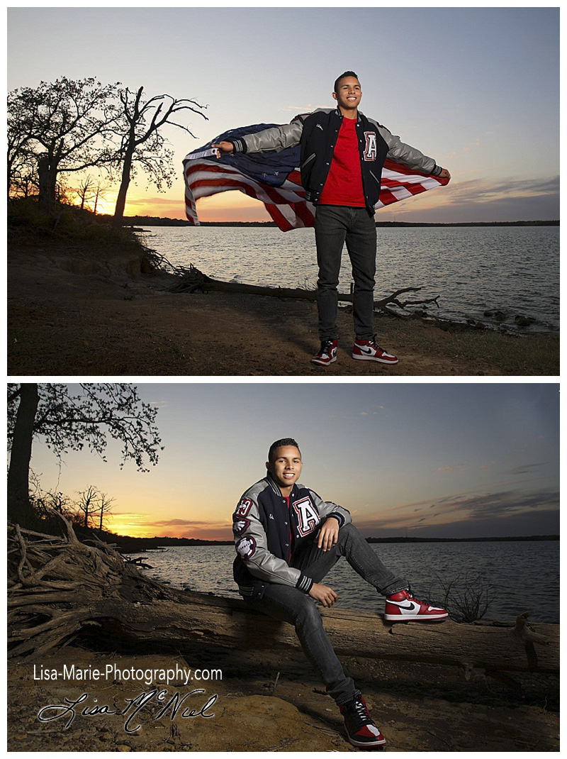 teen boy by lake with flag wearing letter jacket