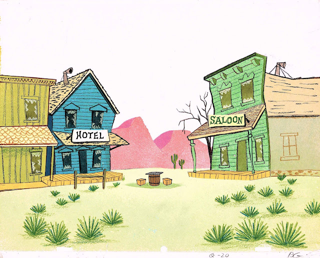 a western ghost town background for a Hannah Barbera television animation