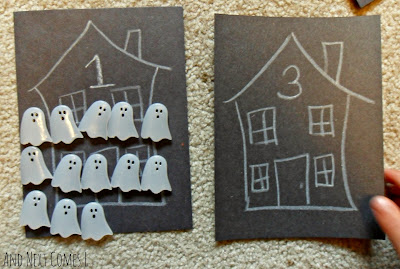 Counting ghosts - a Halloween busy bag from And Next Comes L