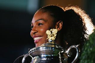 Serena Williams with Australian Open 2017 Trophy