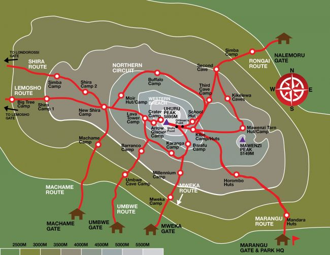 Xvlor.com Mount Kilimanjaro is stratovolcano with peaks of Uhuru, Mawenzi and Shira