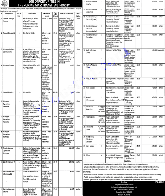 Metro Bus Jobs 2021   Punjab Masstransit Authority Jobs 2021