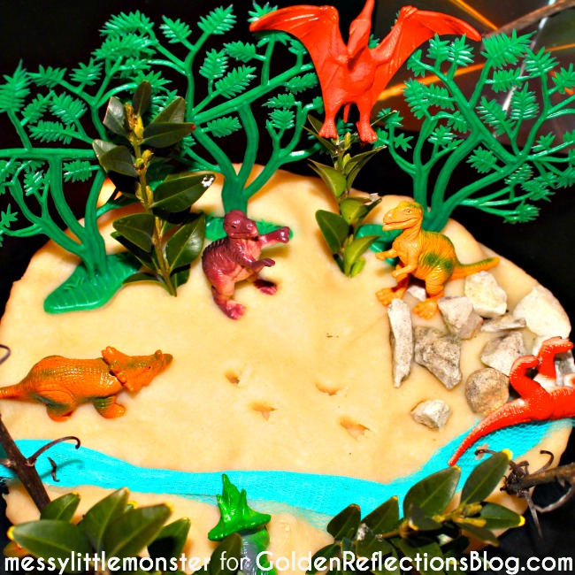 Dinosaur playdough activity idea for kids.