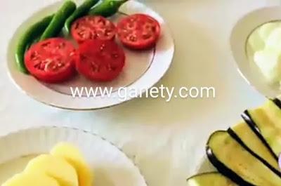 طريقة عمل المقلوبه بالدجاج والباذنجان