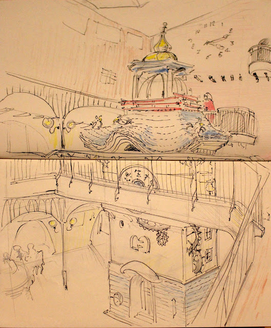 croquis du hall au Musée Ghibli - Mitaka, Japon