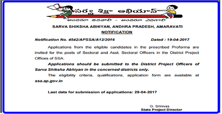 SSA Andhra Pradesh Notification for the Posts of Sectorial and Assistant Sectorial Officers in District Project offices Applications from the eligible candidates in the prescribed Proforma are invited for the posts of Sectoral and Asst. Sectoral Officers in the District Project Offices of SSA. Applications should be submitted to the District Project Officers of Sarva Shiksha Abhiyan in the concerned districts only. The eligibility criteria, qualifications, application form are available at ssa.ap.gov.in/2017/04/ssa-andhra-pradesh-notification-for-sectorial-officers--assistant-sectorial-officers-in-district-project-offices-ssa.ap.gov.in.html