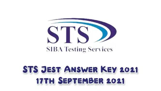 STS Jest Answer Key 2021 17 September 2021