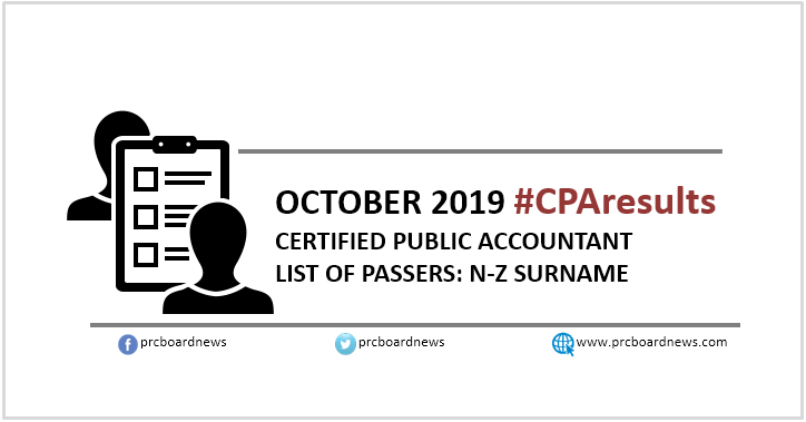 N-Z CPALE PASSERS: October 2019 CPA board exam result