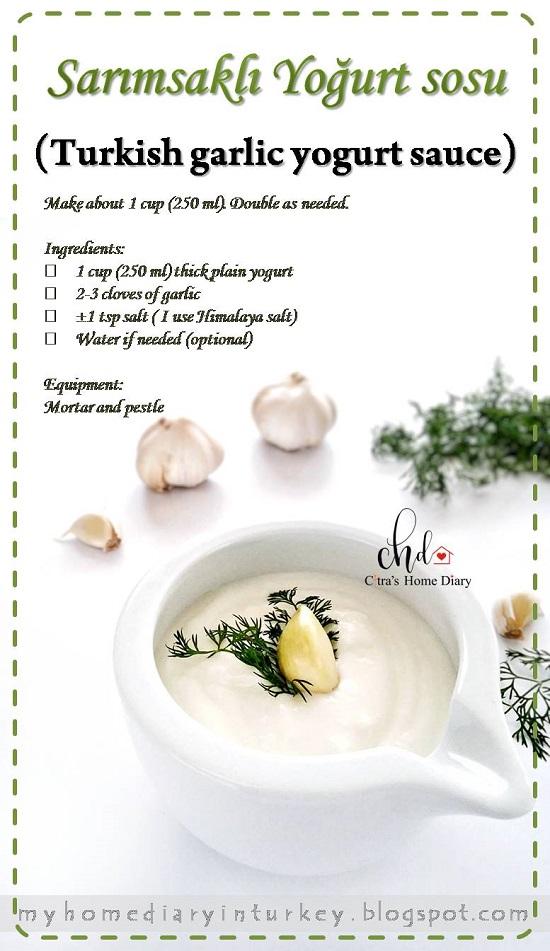 Sarımsaklı Yoğurt sosu / Turkish garlic yogurt sauce   Çitra's Home Diary. #yogurtrecipe #yogurtsauce #garlicrecipe #garlicyogurtsauce #dippingsauce #homemadesauce #healthyfood #turkishfoodrecipe