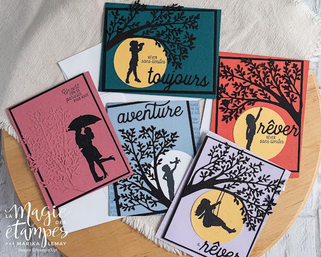 Ensemble de cartes avec le jeu Silhouettes de la vie Stampin' Up!