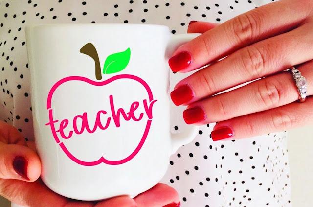 freebie friday, free silhouette studio file, HTV mug design, sublimation, teacher gift